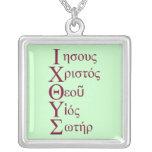 IXOYE Acrostic (Red) Square Pendant Necklace