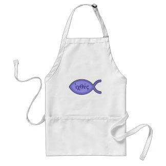IXOYE Christian Fish Symbol - Blue Parchment Aprons