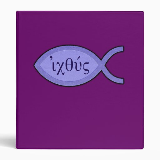 IXOYE Christian Fish Symbol - Blue Parchment Vinyl Binder