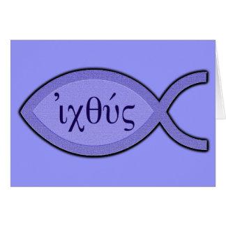 IXOYE Christian Fish Symbol - Blue Parchment Card