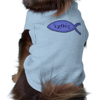 IXOYE Christian Fish Symbol - Blue Parchment Doggie T-shirt