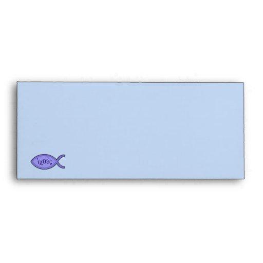 IXOYE Christian Fish Symbol - Blue Parchment Envelopes