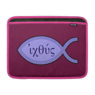 IXOYE Christian Fish Symbol - Blue Parchment MacBook Sleeve