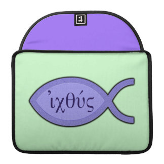 IXOYE Christian Fish Symbol - Blue Parchment MacBook Pro Sleeves