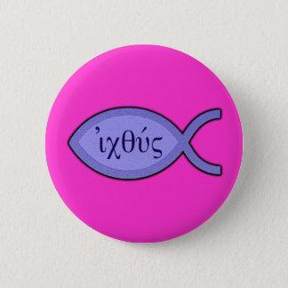 IXOYE Christian Fish Symbol - Blue Parchment Pinback Button