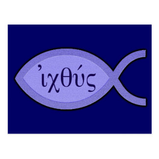 IXOYE Christian Fish Symbol - Blue Parchment Post Cards