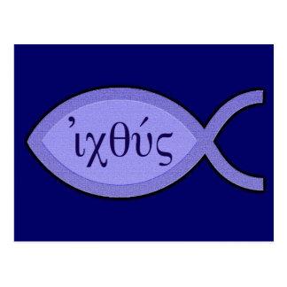 IXOYE Christian Fish Symbol - Blue Parchment Postcard