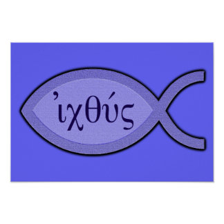 IXOYE Christian Fish Symbol - Blue Parchment Poster