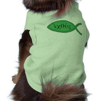 IXOYE Christian Fish Symbol - Green Parchment Pet Clothing