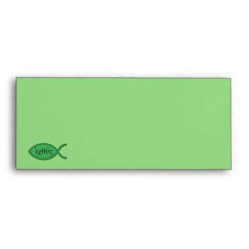 IXOYE Christian Fish Symbol - Green Parchment Envelope