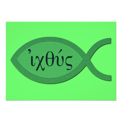 IXOYE Christian Fish Symbol - Green Parchment Personalized Announcement