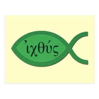 IXOYE Christian Fish Symbol - Green Parchment Postcard