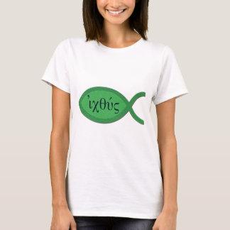 IXOYE Christian Fish Symbol - Green Parchment T-Shirt