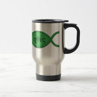 IXOYE Christian Fish Symbol - Green Parchment Travel Mug
