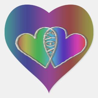 Ixoye Christian Fish Symbol Heart Sticker
