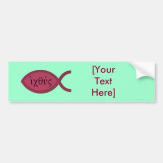IXOYE Christian Fish Symbol - Red Parchment Bumper Sticker
