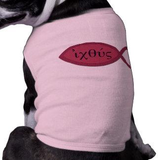 IXOYE Christian Fish Symbol - Red Parchment Dog Shirt