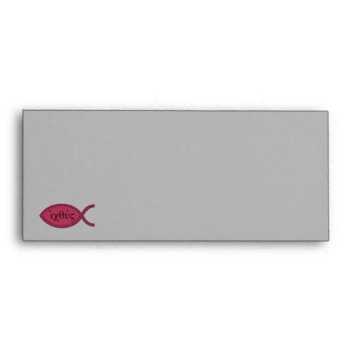 IXOYE Christian Fish Symbol - Red Parchment Envelope