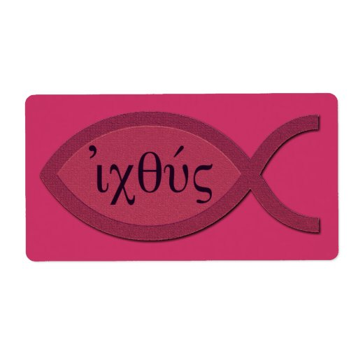 IXOYE Christian Fish Symbol - Red Parchment Personalized Shipping Label