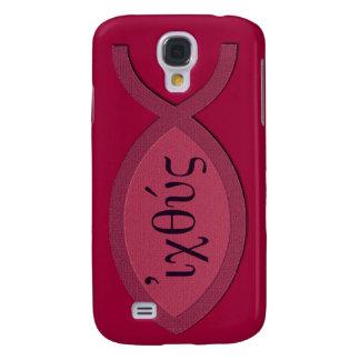 IXOYE Christian Fish Symbol - Red Parchment Samsung Galaxy S4 Case