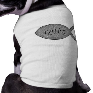 IXOYE Christian Fish Symbol - Stone Effect Pet Tee Shirt