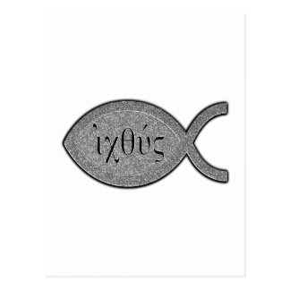 IXOYE Christian Fish Symbol - Stone Effect Postcard