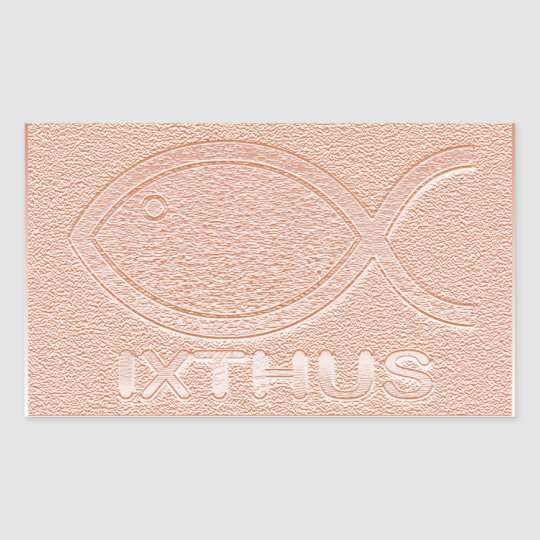 IXTHUS Christian Fish Symbol - Copper Rectangular Sticker