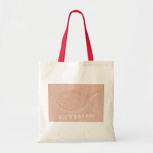 IXTHUS Christian Fish Symbol - Copper Tote Bags
