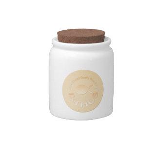 IXTHUS Christian Fish Symbol - GOLD Candy Jars
