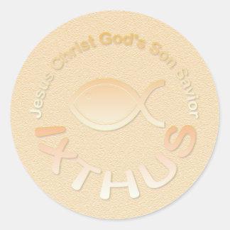 IXTHUS Christian Fish Symbol - GOLD Classic Round Sticker