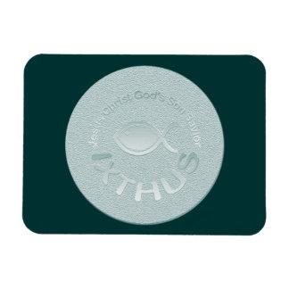 IXTHUS Christian Fish Symbol - SILVER Magnet