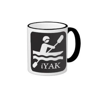 iYAK, kayaking black ceramic mug