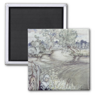 Izaak Walton reclining against a Fence 2 Inch Square Magnet
