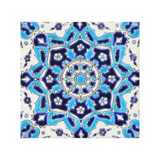 İznik Blue and white flowers ceramics tile Canvas Print