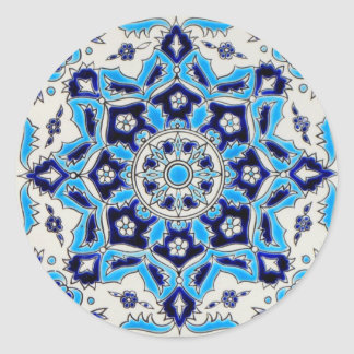 İznik Blue and white flowers ceramics tile Classic Round Sticker