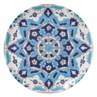 İznik Blue and white flowers ceramics tile Dinner Plate
