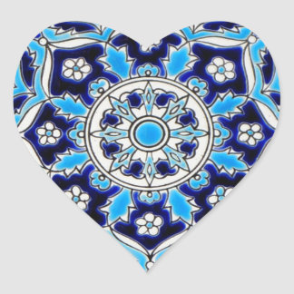 İznik Blue and white flowers ceramics tile Heart Sticker