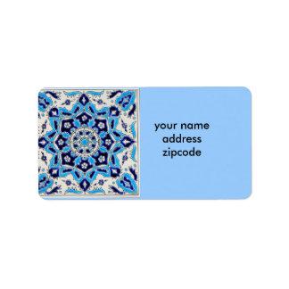 İznik Blue and white flowers ceramics tile Personalized Address Labels