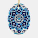 İznik Blue and white flowers ceramics tile Christmas Tree Ornaments