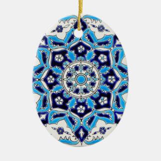 İznik Blue and white flowers ceramics tile Double-Sided Oval Ceramic Christmas Ornament