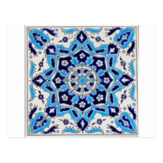 İznik Blue and white flowers ceramics tile Postcard