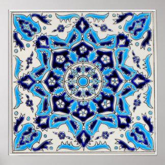 İznik Blue and white flowers ceramics tile Poster