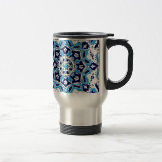 İznik Blue and white flowers ceramics tile Travel Mug