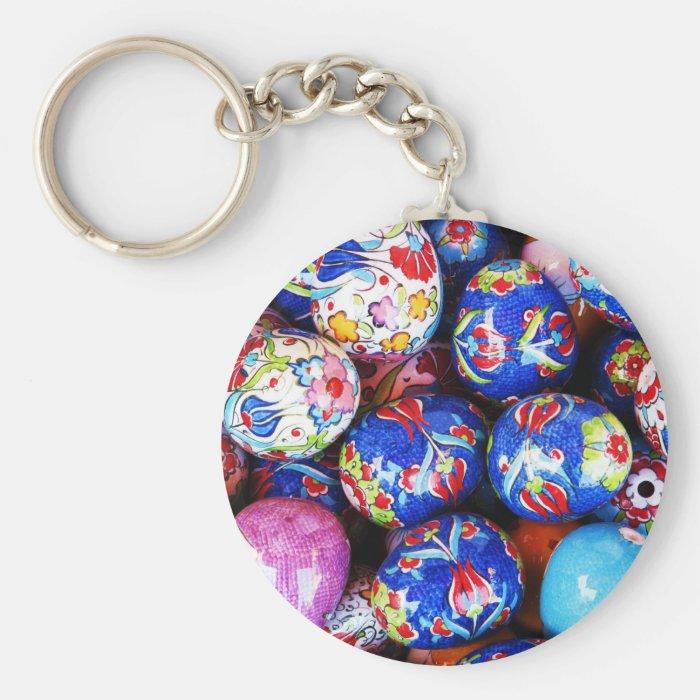 Iznik Design Ceramic Eggs Keychain