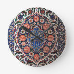 Iznik Floral Ethnic Tribal Turkish Mosaic Pottery Round Wallclock