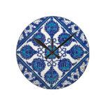 Iznik Floral Ethnic Tribal Turkish Mosaic Pottery Wall Clock