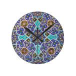 Iznik Floral Ethnic Tribal Turkish Mosaic Pottery Wall Clocks