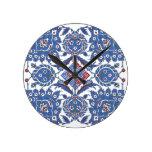 Iznik Floral Ethnic Tribal Turkish Mosaic Pottery Round Clocks