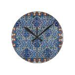 Iznik Floral Ethnic Tribal Turkish Mosaic Pottery Round Wallclocks