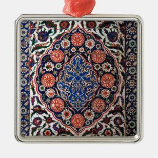 Iznik Floral Ethnic Tribal Turkish Mosaic Pottery Metal Ornament